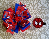 Stacked Boutique Loopy Pinwheel Bow with Spiderman Felt Clip Center - Marvel ComicCon Hairbow - Handsewn Bow - Ready to Ship (RTS)