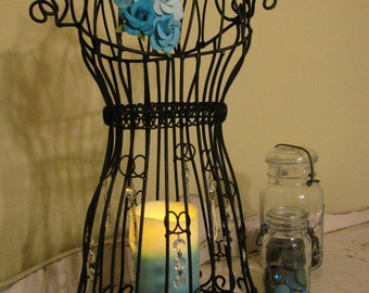 Black Table Dress Form with Crystals & Flameless Candle