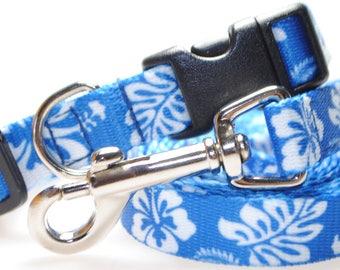 "Hawaiian Flower - Blue Collar and Leash Combination - 5/8"" Width"