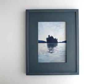 Framed Adirondack Island Painting