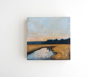 Adirondack Landscape Mixed Media Painting - 4 x 4