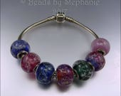 RESERVED - MEMORIAL BEADS – Handmade Lampwork Big Hole Bracelet Beads