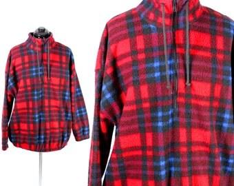 50% off SALE Vintage Retro Plaid Winter Fleece Jacket Size Large