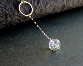 Swarovski Clear AB Crystal Disco Ball Drop -Sterling Silver Jewelry Pendant - Free U.S Shipping-Birthday -Anniversary
