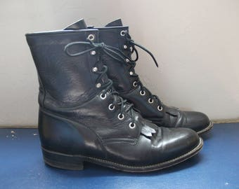 Vintage 1980s / 1990s Black Leather Justin Roper Boots Size 9 B Fringe Country Wester Cowboy Lace Up Hipster Grunge Shoes