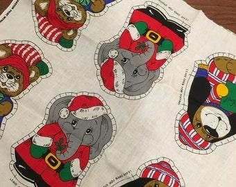 6 ornament FABRIC panel Santas Helpers DIY Kit c1980s Animals for Christmas pillow soft toy xmas decor