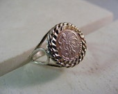 Vintage Panda Coin COPY ring  in Sterling Silver.....  Lot 5012