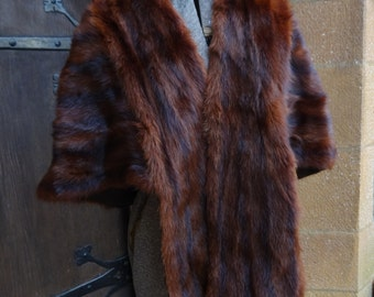 vintage women's genuine fur muskrat cape stole wrap 1940-50's mahogany winter