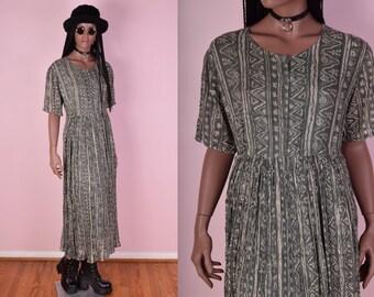 90s Tribal Print Flowy Dress/ One Size/ 1990s/ Button Down/ Maxi Dress