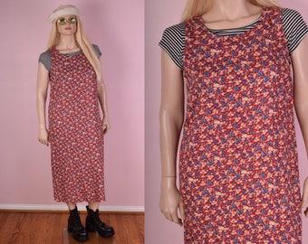 90s Floral Print Dress/ US 12/ 1990s/ Tank/ Sleeveless
