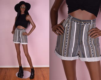 80s High Waisted Aztec Print Denim Shorts/ US 8/ 28 Waist/ 1980s