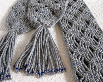 Grey crochet scarf with violet and blue beads.  Long and lacy gray beaded scarf. Fashion accessory