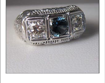 Antique Art Deco 14k  Diamond Sapphire 1.59 CT Engagement Filigree Ring band