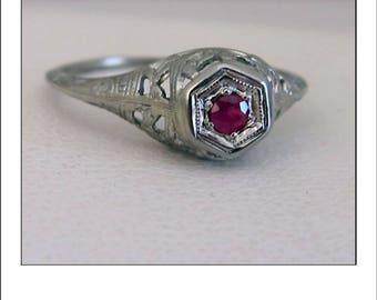 Antique Art Deco 18k Ruby Filigree Engagement Ring