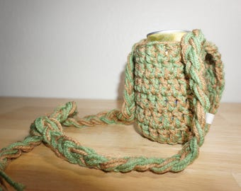 Green and Tan Can Cozy with Adjustable Neck Strap