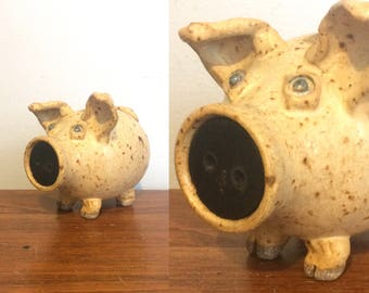 Vintage 70s Stoneware Piggy Bank / Ceramic Pig Bank / Pig Decor Pottery