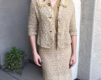 Crocheted business suit womens Jackie O lines 3-pc modernist hand-tailored Bocara Vienna Handwork label lt brown metallic gold skirt jacket