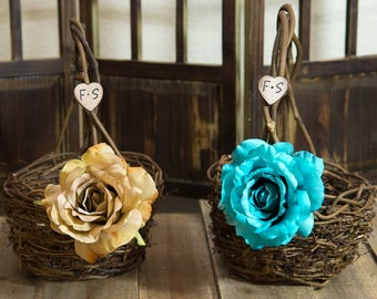 Set of 2 Small Rustic twig flower girl baskets decorated with artistry roses and bride and groom initials other flowers to select from