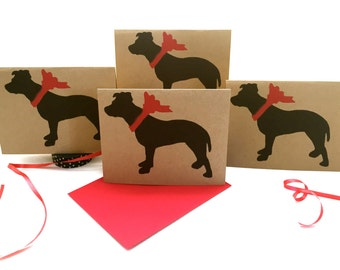 Pit Bull Card Set % to ANIMAL RESCUE ECO Friendly Pack Blank Cards Holiday Thank You Pitbull Birthday Christmas Gift Wrap, Red, pet sympathy