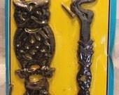 Vintage Black Cast Iron Owl Bracket Hanger