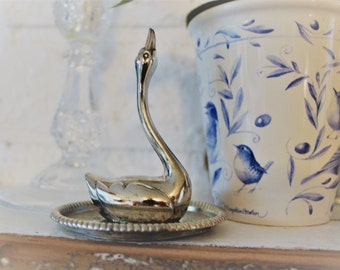 Vintage Silver Plated Swan RIng Holder
