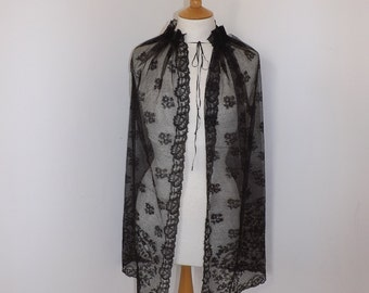 Antique Victorian Mourning large black lace shawl wrap veil with little bow ribbon tie