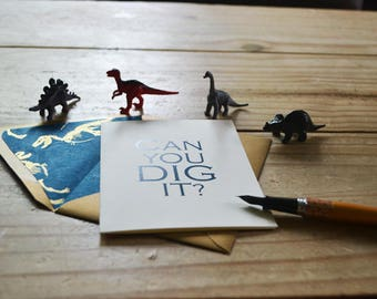 Can You Dig It? - General Sentiment- Single Blank Card - Blue Handmade Paper with Gold Dinosaur Pattern Lined Envelope
