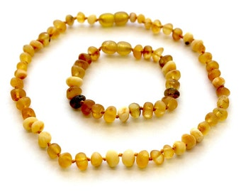 Raw NATURAL BALTIC AMBER Baby Teething Necklace and Bracelet