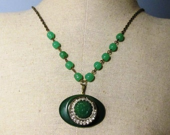 LONG LAYERING Vintage Green Floral and Rhinestone Button and Beaded Rosary Antique Bronze Necklace Jewelry