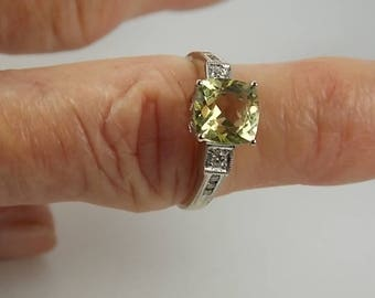 Oro Verde and Diamond Ring 2.38Ctw White Gold 14K 2.9gm Size 7 3/4
