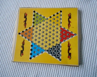 Vintage Chinese Checkers Star Board Game Board Card Retro