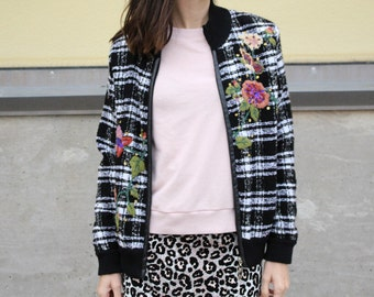 black white plaid floral embroidered vintage bomber jacket