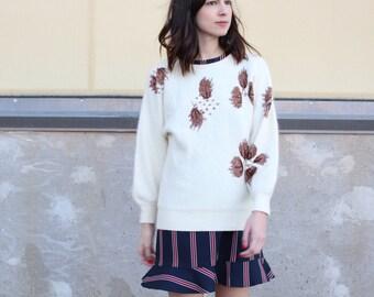 vintage ivory wool embellished beaded fuzzy sweater