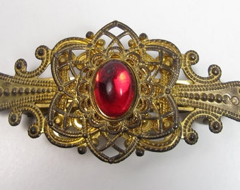 Vintage Barrette Hair Clip Ornate Gold Brass Metal Red Cabochon Korea 1980s Vtg