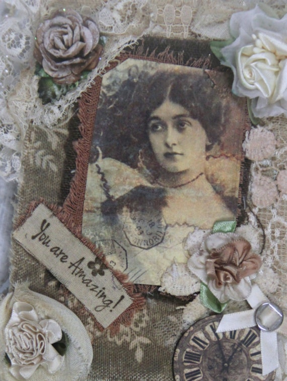 Fabric book *YOU ARE AMAZING* Mixed Media, Collage Book, Journal, Shabby, Notebook, Lace Mini Journal, Lace Book, Flowers, Elite4u Khatsart