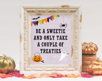halloween porch printable unattended candy bowl porch sign 8x10 instant download