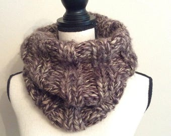 Chunky neck warmer infinity scarf brown with a little bid metallic in gold,Handmade neck warmer