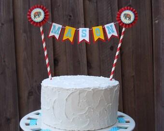 Vintage Circus Cake Topper, Vintage Circus Mini Cake Bunting, Carnival Cake Bunting - Personalized