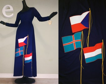 MOD Vintage 1970s 70s Nautical Maxi Dress Red White Blue Flags Sailor Hippie Boho Long Sleeve Deadstock NOS Mint Condition NWT Hudsons small