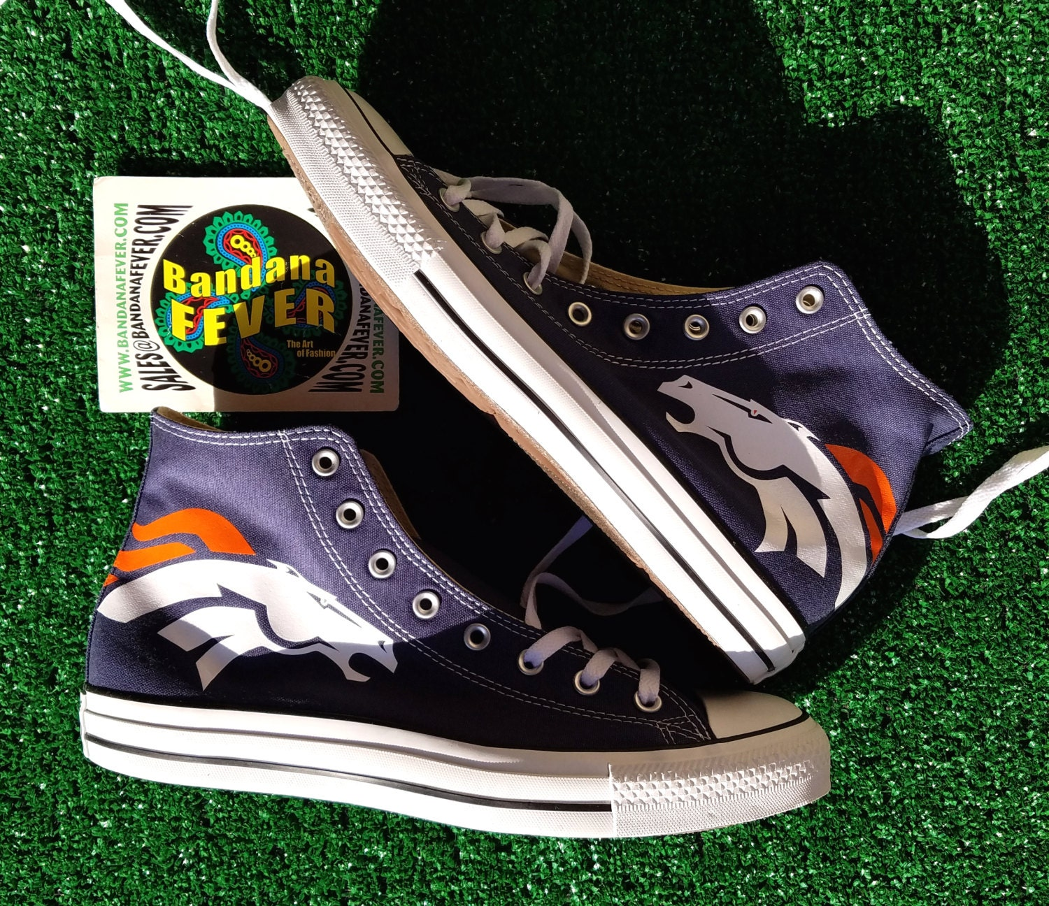 Denver To Hawaii: Converse Hi Navy Denver Broncos FREE By BandanaFeverDesigns