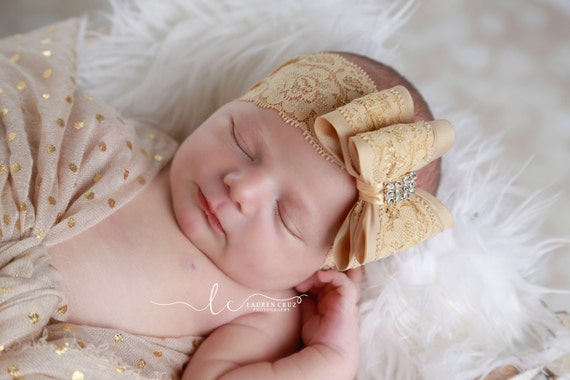Lace Bow Headbands or Clips, 10 COLORS, stretch 2.5 inch lace, newborn photos, birthday, photo shoot, baby headband, by Lil Miss Sweet Pea