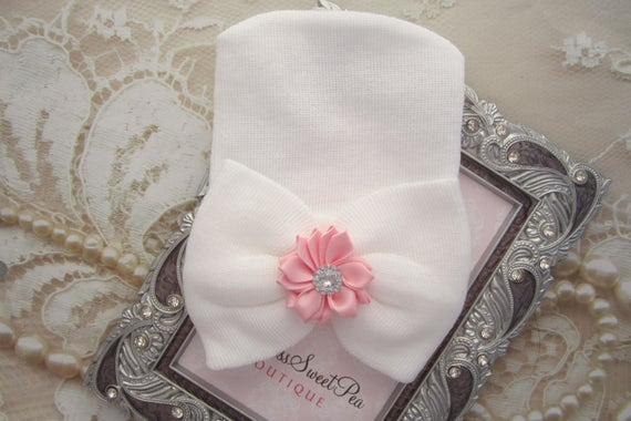 Newborn Hospital Hat, white with Pink Satin Flower embellishment, newborn hat, hat with bow, baby hat, by Lil Miss Sweet Pea Boutique