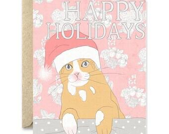 Cat Christmas Card-Santa paws