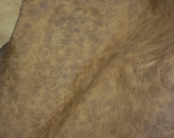 """Leather 12""""x20"""" or 10""""x24"""" or? PULL UP Aged look Camel Distressed Cowhide 2.75-3 oz /1.1-1.2 mm PeggySueAlso™ E2930-02"""