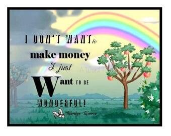 "CIJ Sale Lg Marilyn Monroe Fridge Magnet ""I Want to be Wonderful"" Marilyn Monroe Quote, Hollywood Star Gift Under 10 Dollars"