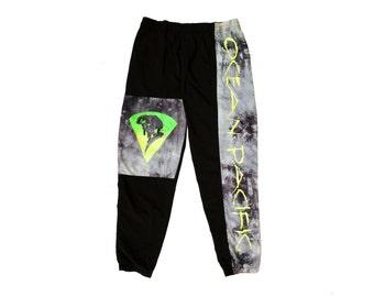 Rad 80s Ocean Pacific Marble Neon Snowboard Pants - 36 to 38
