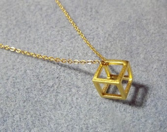 """Geometric 3D Cube Necklace. Gold Plate. 18"""" Length (Style NP)"""
