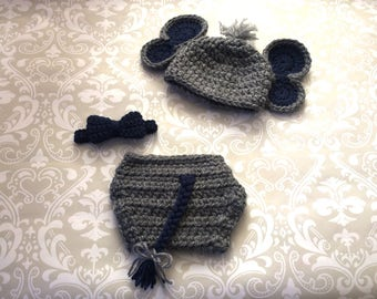 Crochet baby elephant 3 piece set, size newborn - an adorable baby shower gift,  made to order