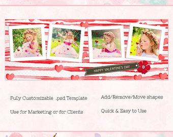 Valentine Facebook Cover/Timeline, Photoshop Template, INSTANT DOWNLOAD
