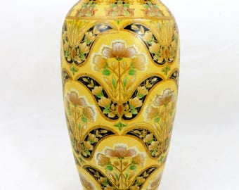 Vintage Nippon Vase, Large Japanese Hand Painted Yellow Ground Floral Baluster Vase with Moriage Decoration